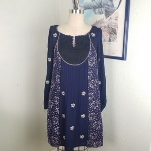 Anthropologie Floral Pleated Blue Dress Boho 6